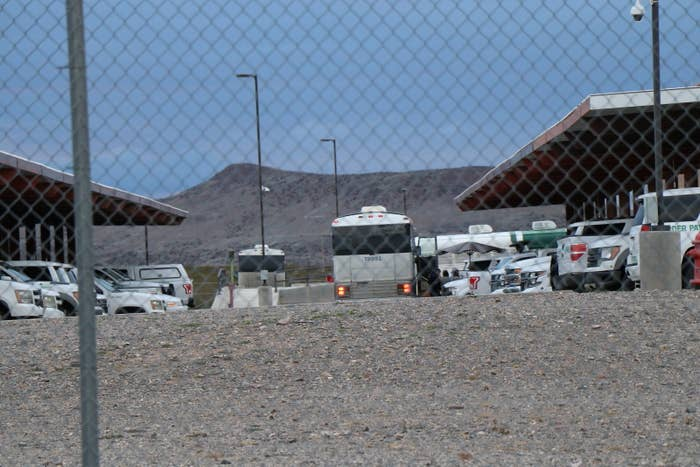 A bus at the Lordsburg Border Patrol detention center discharging asylum seekers Tuesday.