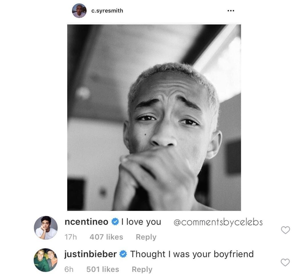 """And just when I thought Jaden was going to reply with an """"I love you too, bro,"""" Justin Bieber hit Jaden with this comment."""