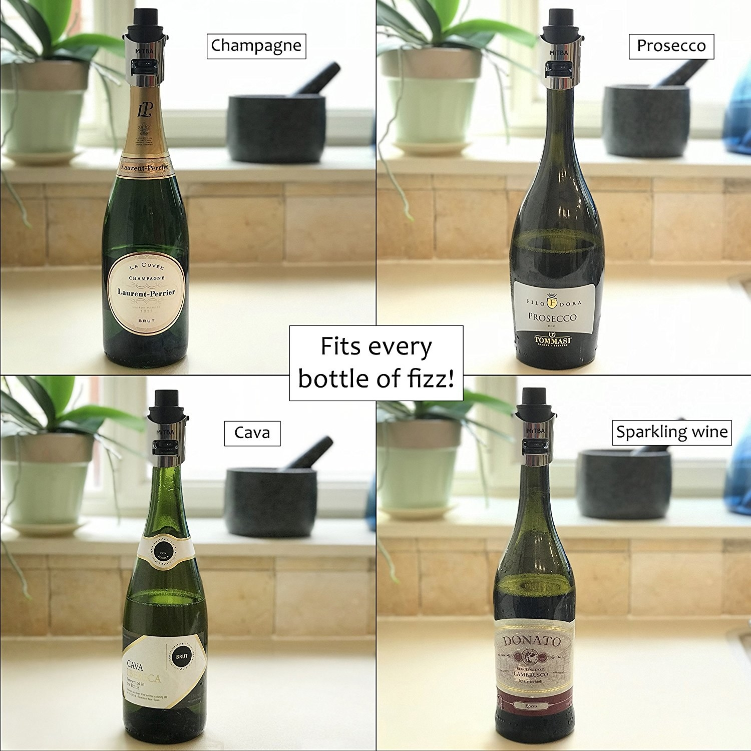 A graphic showing that it fits every bottle of fizz, including sparkling wine, cava, prosecco, and champagne
