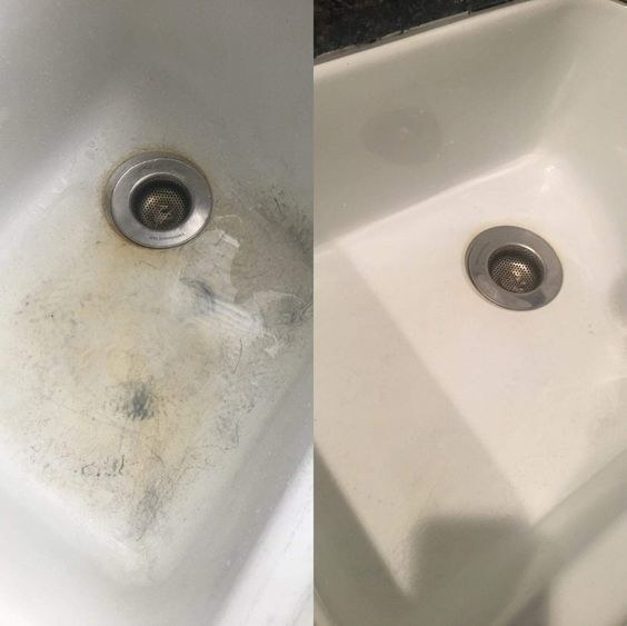 A before/after of a scuffed up sink with brown and grey marks, and then cleaned to almost new