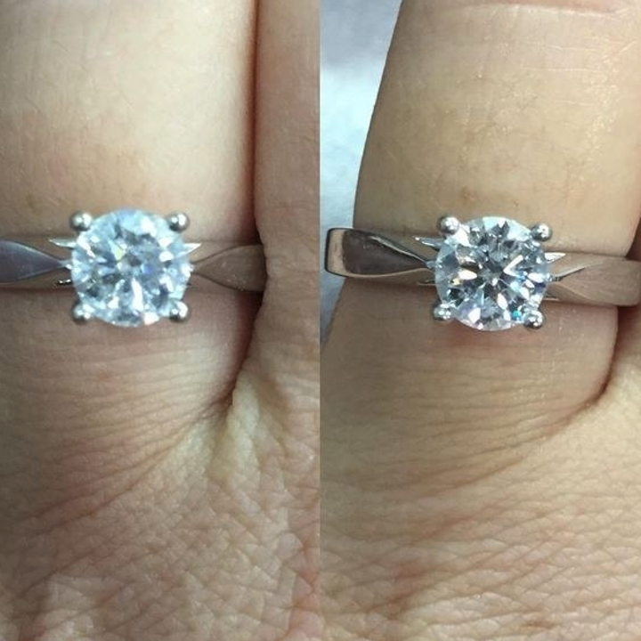 A reviewer's solitaire ring before cleaning (cloudy) and after (clean and brilliant)