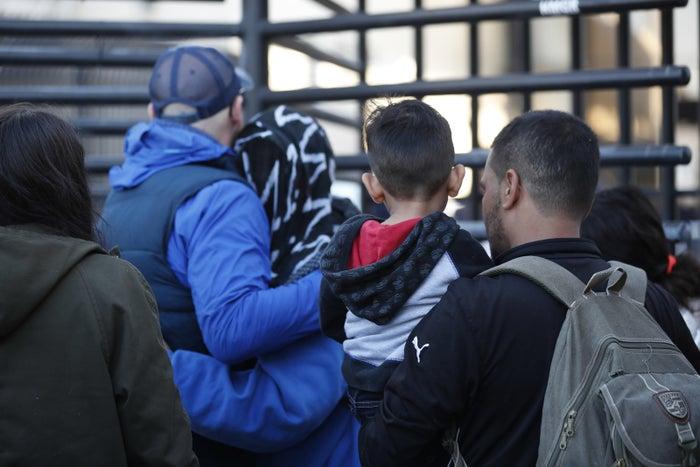 Honduran asylum-seekers enter the US at San Diego's Otay Mesa port of entry.