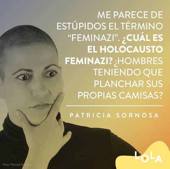 """""""Feminazi"""" es un término peyorativo utilizado por los machistas para desacreditar el movimiento feminista y a todas aquellas mujeres que les resultan molestas por hacer que se les tambalee el sistema que tienen montado y que les beneficia.Como decía Patricia Sornosa: """"Me parece absurdo el término feminazi, ¿cuál es el holocausto feminazi? ¿Hombres planchando sus propias camisas?""""."""