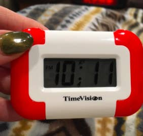 """Promising review: """"This has been a tremendous help! I isn't want a loud obnoxious alarm to go off and wake my newborn baby, so I researched and there are some very expensive vibrating alarm clocks out there but this one worked great! I've had it for several months now with no complaints!!"""" —Volprincess24Get it from Amazon for $17.99."""