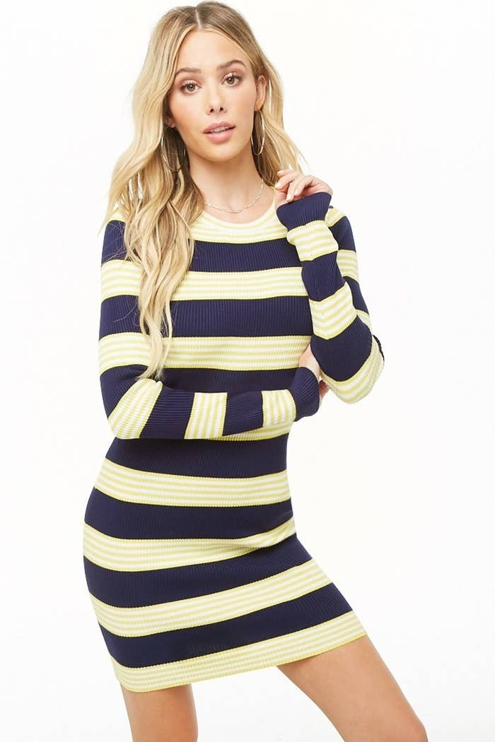 a765f407 A striped minidress you can easily dress down with your favorite sneakers  or dress up with a pair of heels and tights.
