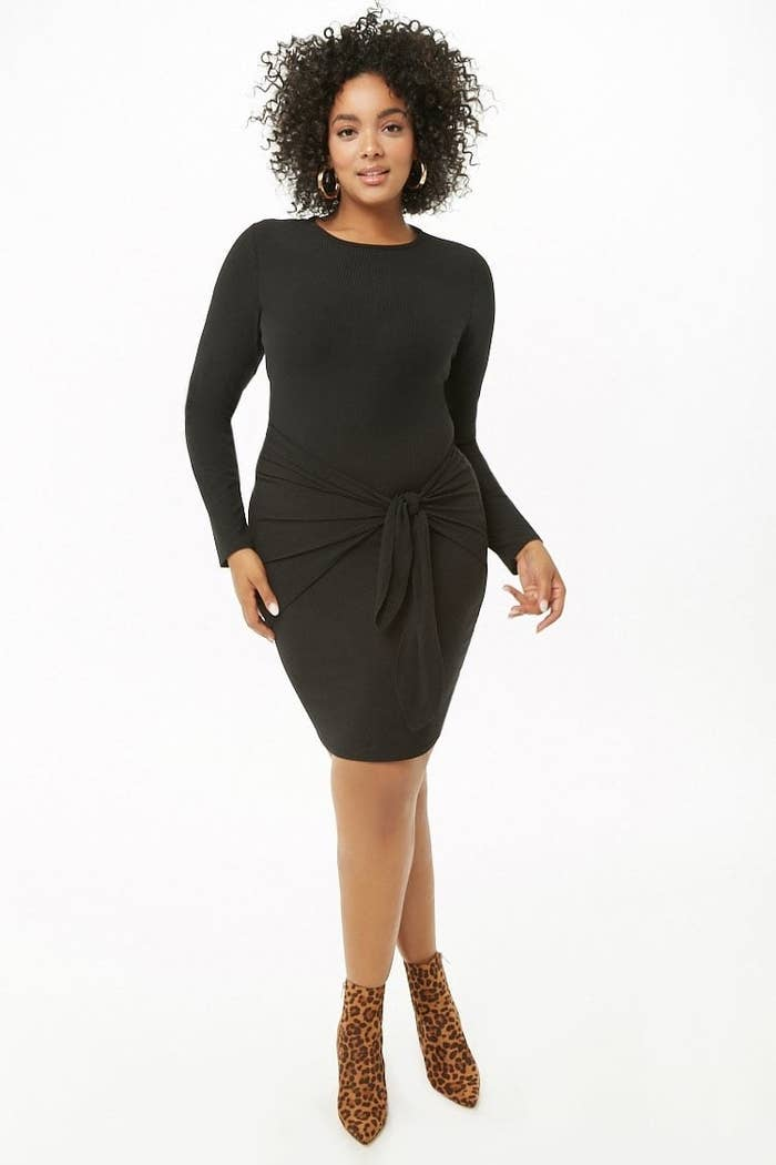 8a617ab49 Your new LBD with a tie-front twist — it'll transition perfectly throughout  the seasons for whatever festivities you've got in store all year. Forever  21