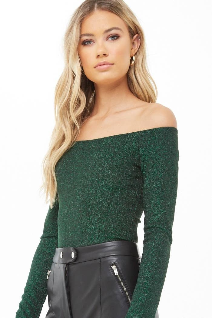 8d963d5393f A metallic off-the-shoulder top so festive it's basically impossible to be  in a bad mood when you're wearing it. Forever 21