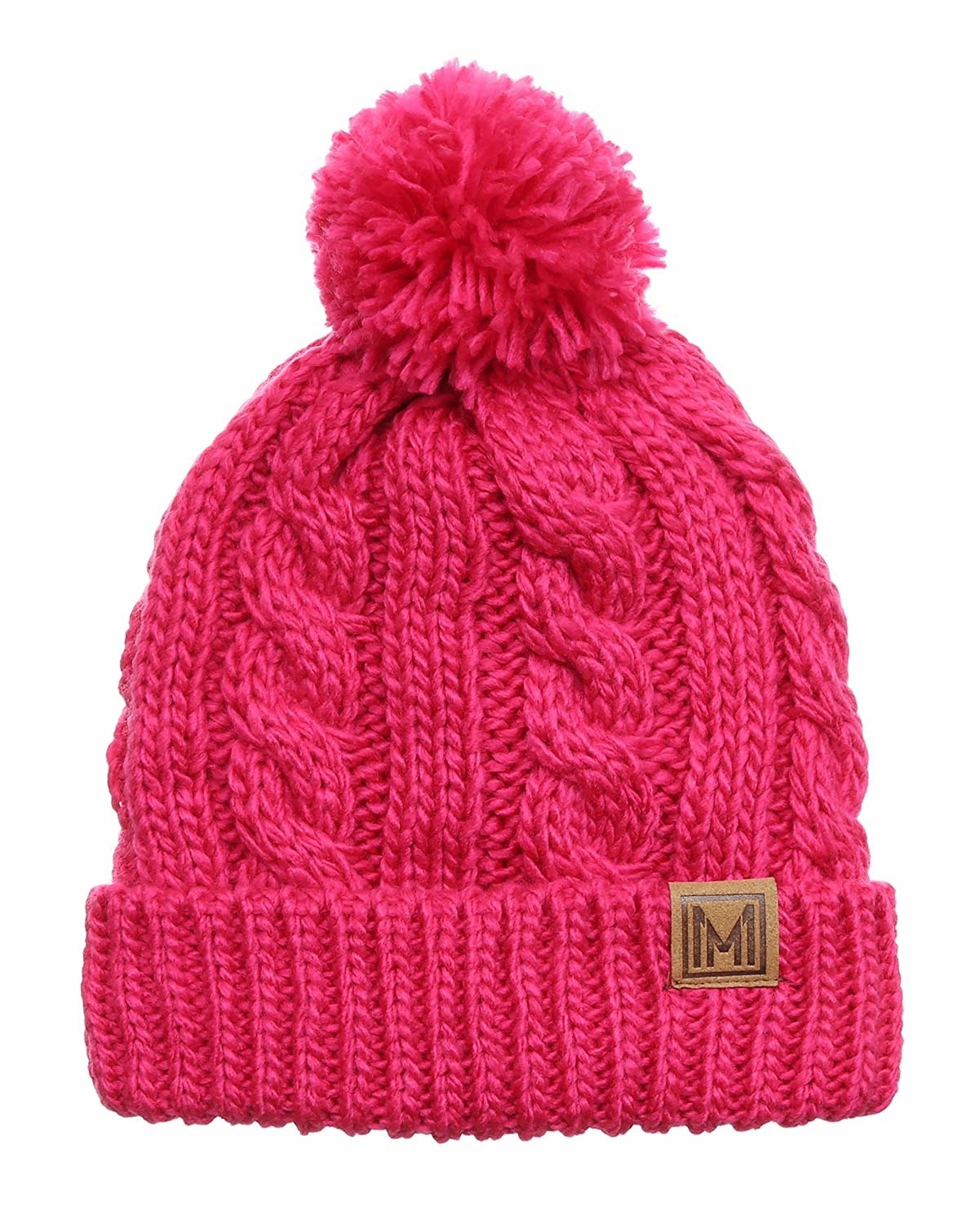 The cable knit hat with pompom in pink