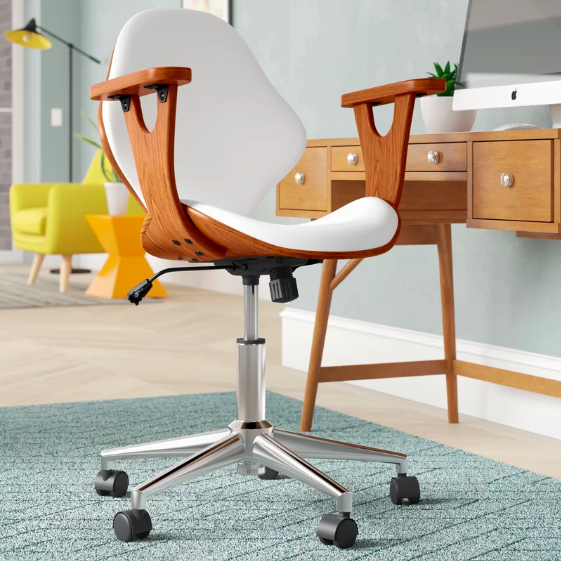 mid-century modern look white desk chair with wood accents and chrome legs