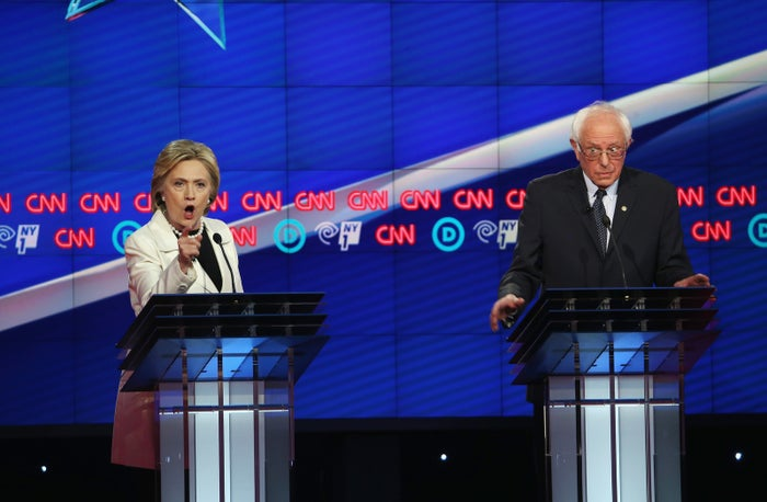 Bernie Sanders and Hillary Clinton at a primary debate in the Brooklyn Navy Yard on April 14, 2016, in New York City.