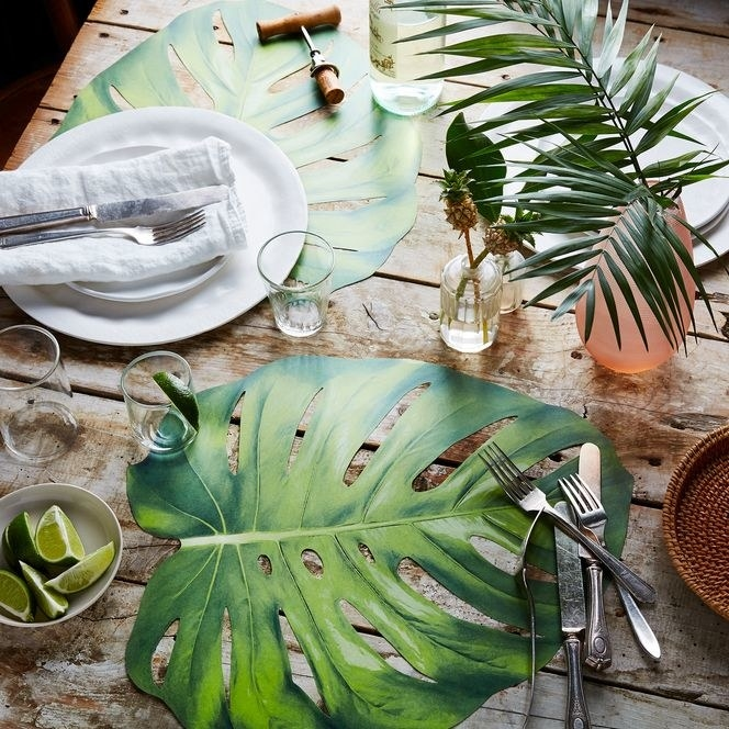 monstera leaf lookalike place mat on a table setting