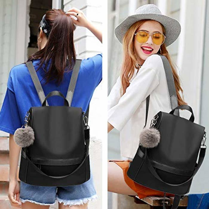 b8e9d34ae06 A nylon backpack with a trendy pom-pom that ll make you leave the worn-out  backpack you ve been using since your freshman year of college in 2018.