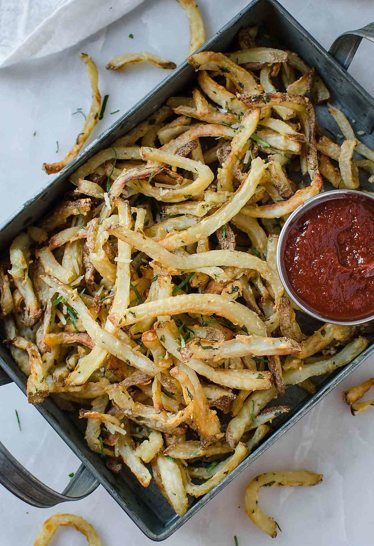 Low Fat French Fries  -  You can make an entire batch of French fries using one tablespoon of olive oil. And honestly, that alone makes the air fryer worth it, in my opinion.
