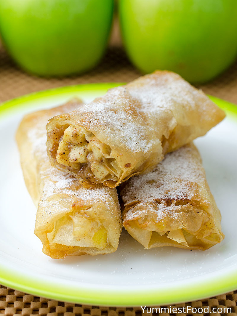 Apple Pie Roll-Ups  -  Because who said egg rolls have to be savory? This recipe uses flaky egg roll wrappers and pairs them with cinnamon coated apple bits for a fun finger food.
