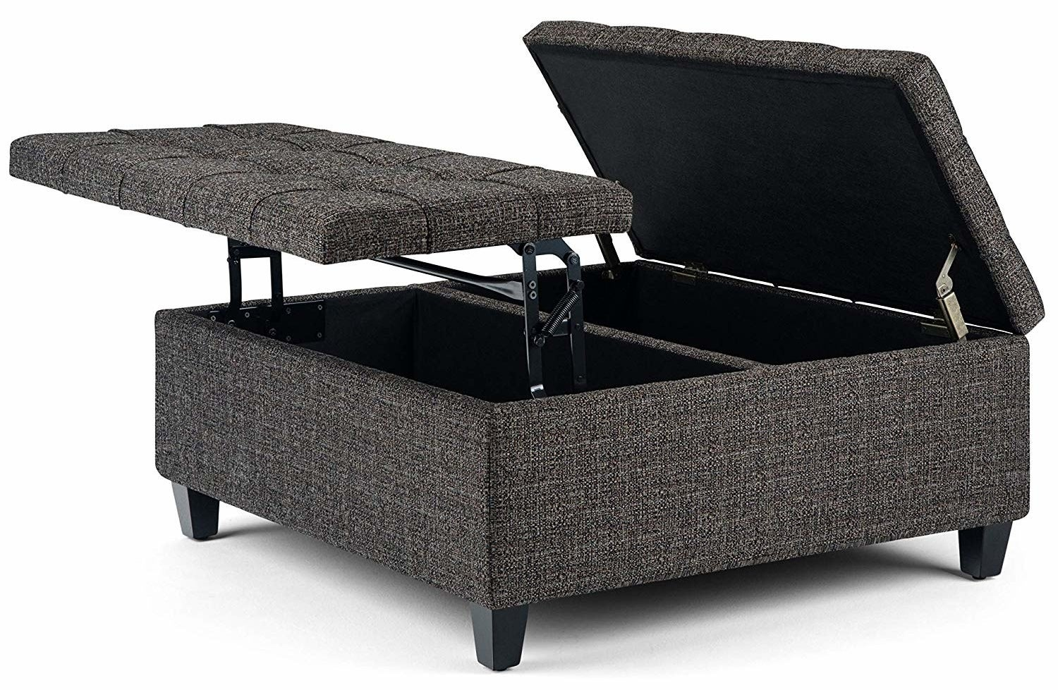 gray rectangular ottoman with lids that raise up to reveal storage