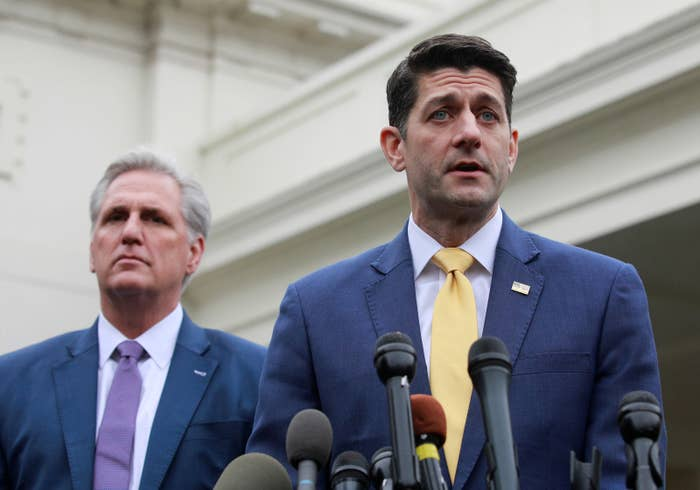 US Speaker of the House Paul Ryan (right) and House of Representatives Republican Leader Kevin McCarthy