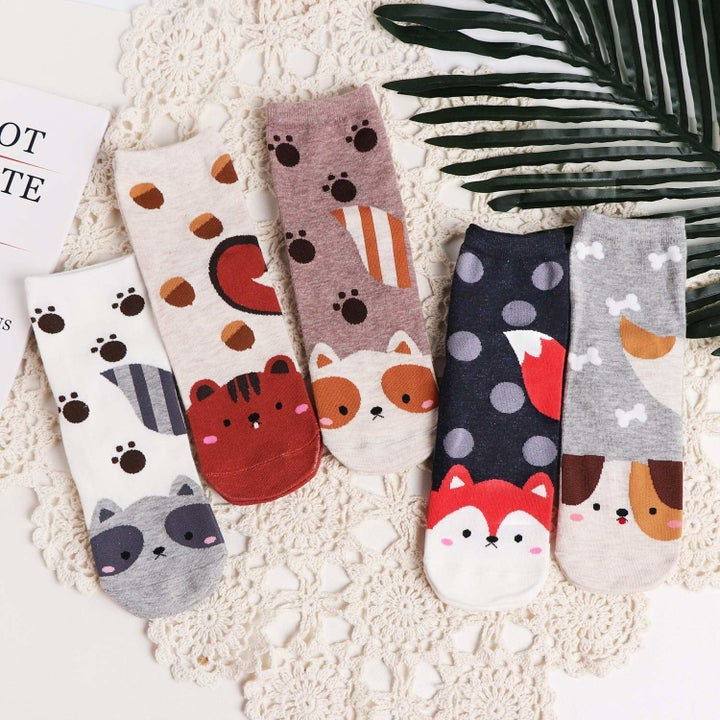 socks with paw prints and animal faces