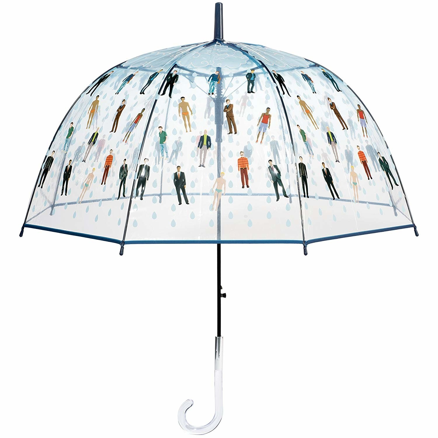 clear umbrella with men and rain on it