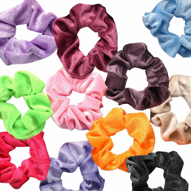 velvet scrunchies in many colors
