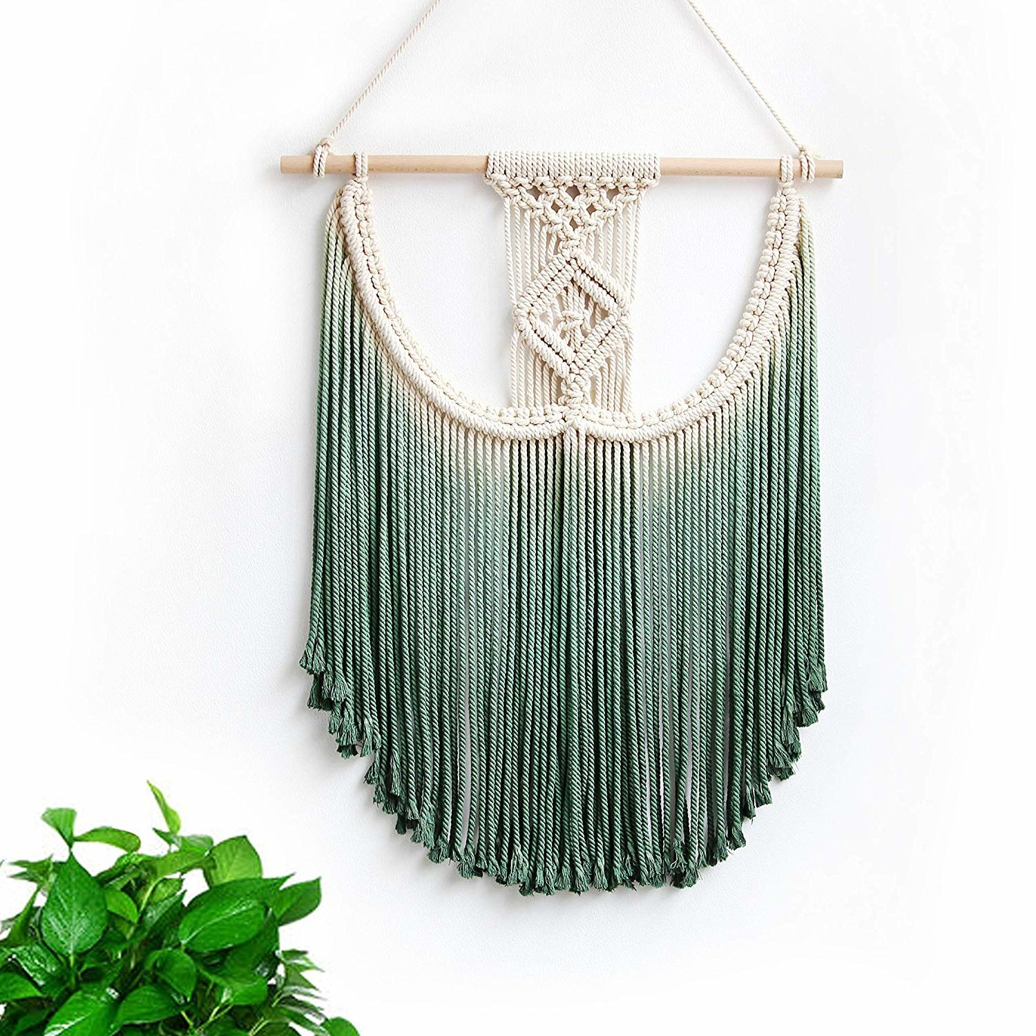teal macrame wall tapestry