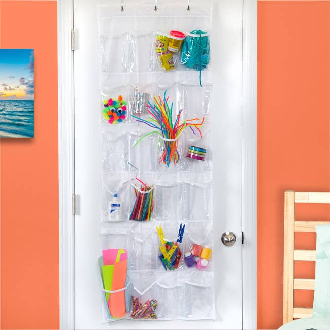"""Promising review:""""I bought this item to use for bathroom storage. I have almost no shelving or storage in my new apartment's W/C so I hang this on my bathroom door and store my beard trimmer, mouthwash, toothpaste, toothbrush, deodorant, bandages, talcum powder, etc. It works great!"""" —KinniniganPrice:$10.60"""