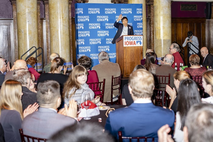 Entrepreneur Andrew Yang speaks at the Progress Iowa Holiday Party in Des Moines on Dec. 20.