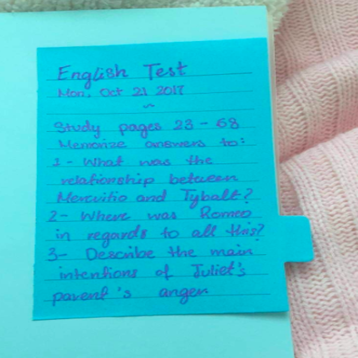 A reviewer's blue lined note about what to study for and English test