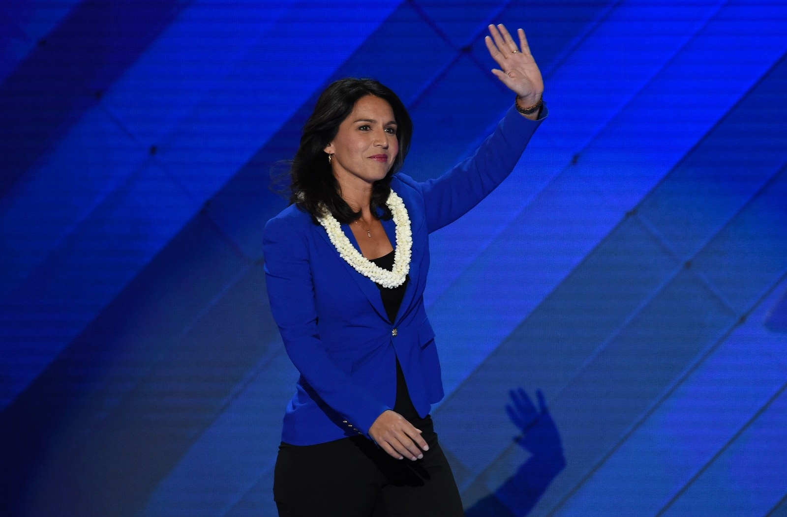 US Representative Tulsi Gabbard speaks during Day 2 of the Democratic National Convention at the Wells Fargo Center in Philadelphia, Pennsylvania, July 26, 2016. / AFP / SAUL LOEB (Photo credit should read SAUL LOEB/AFP/Getty Images)