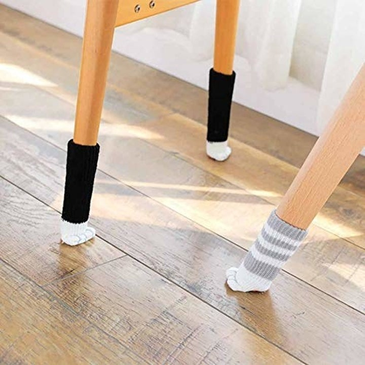 chair legs with cat paw-like socks