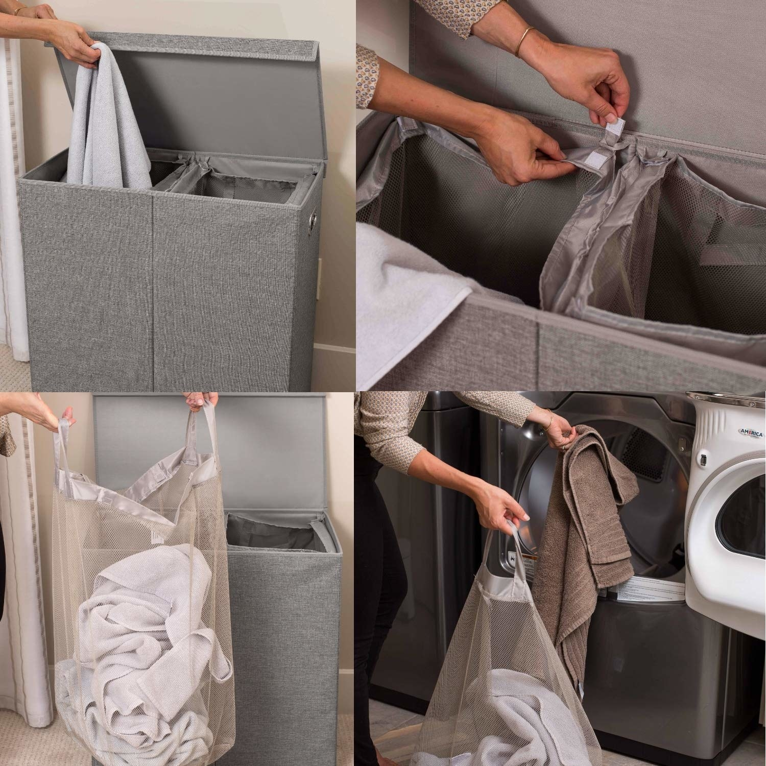 Four images showing a model filling the gray double hamper, unhooking the liner tote bag, pulling it out, and taking it to the washer