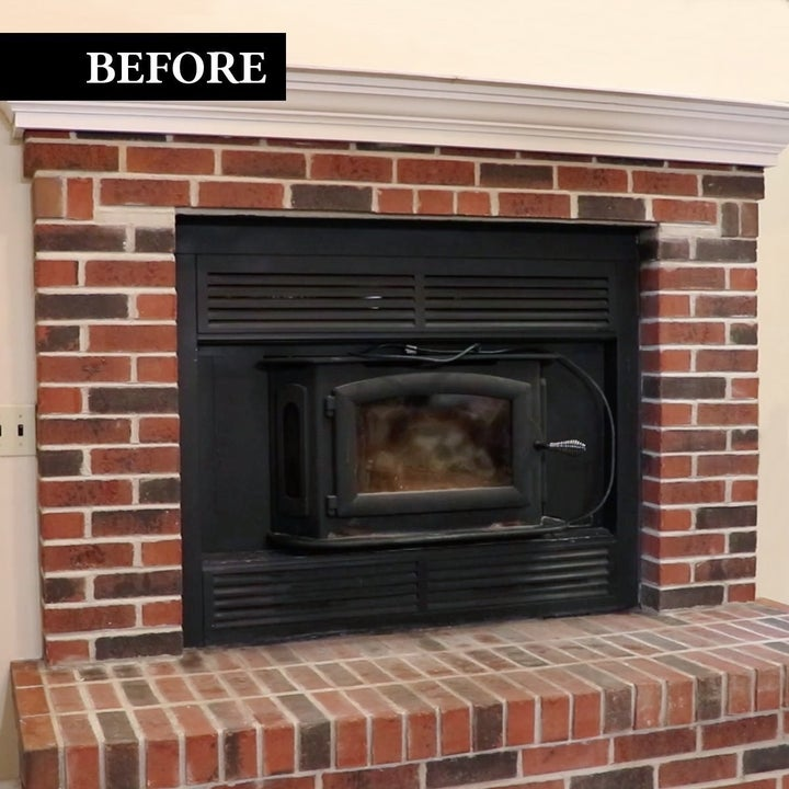 before pic of red brick fireplace
