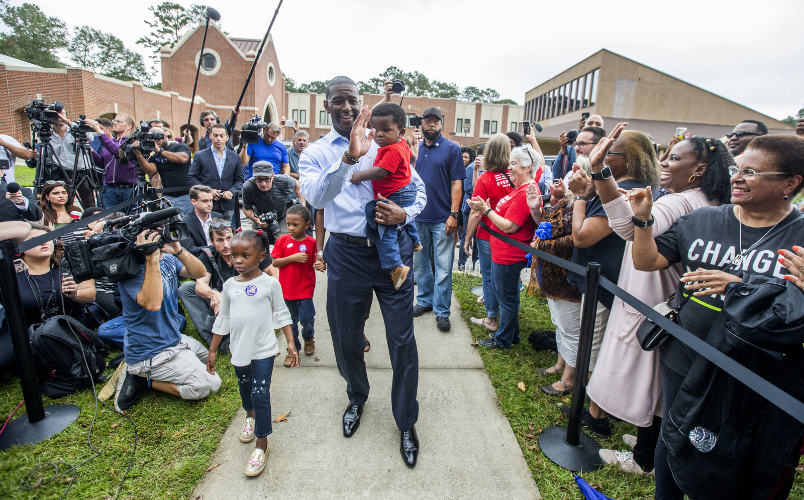 Gillum after voting with his children on Nov. 6, 2018 in Tallahassee, Florida.