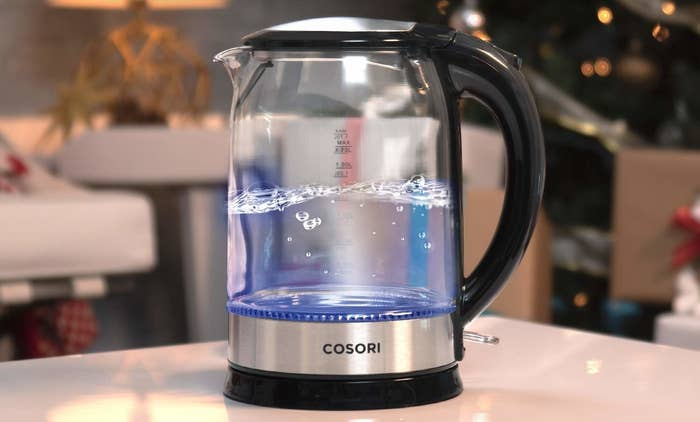 "Kettle features an auto shut-off feature and boil-dry safety protection, as well as a blue LED indicator so you know when exactly the water is boiling. It has a 1.7 L (aka 7.2 cup) capacity, and is made of scratch-resistant Borosilicate glass, a stainless-steel lid and inner pot, and is 100% BPA-free.Promising review: ""I bought this kettle after I burned my stove top version, (oops), and it couldn't have come at a better time since I was struck with a sore throat and cold the day after it arrived, and have been using it non-stop. It was very easy to clean, and it works fantastically, I used it seven times alone yesterday and have had no problems, whatsoever. Fantastic product, fantastic price, and am I the only one that likes to watch the water boil? It's gorgeous!"" —Sophia AlbertiGet it from Amazon for $39.99."