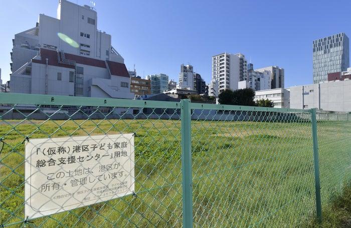 南青山の港区子ども家庭総合支援センター建設予定地。
