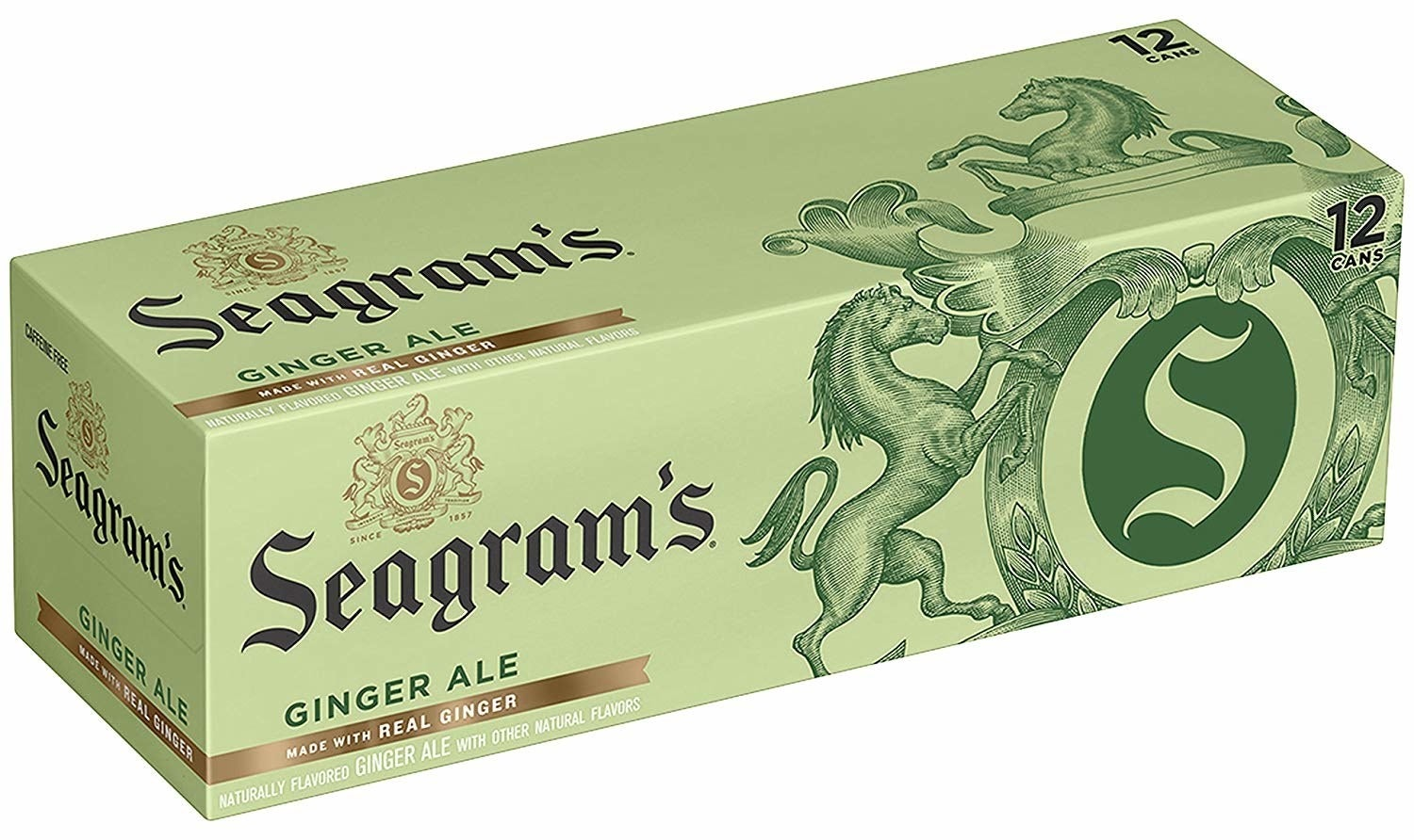 A green box of Seagram's canned ginger ale soda. The box shows that it holds 12 cans.
