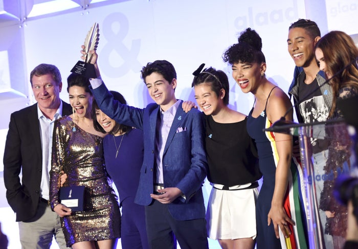 Stoney Westmoreland (far left) appears with cast members of Andi Mack at the GLAAD Media Awards in Los Angeles on April 11.