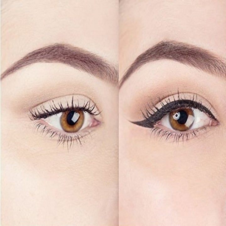 before and after of someone with eyeliner wings
