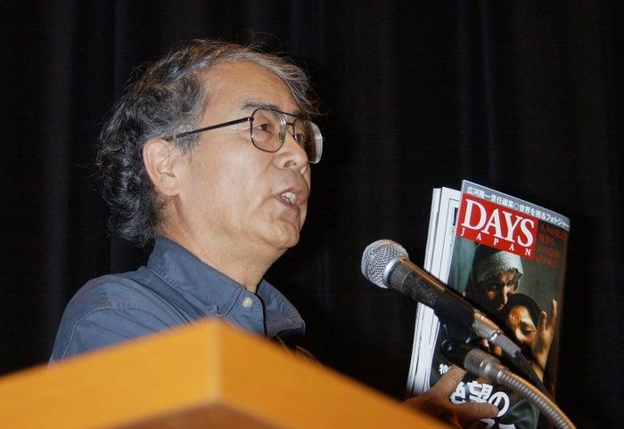 2004年4月、「日本人人質事件を考える緊急集会」で講演する広河隆一氏