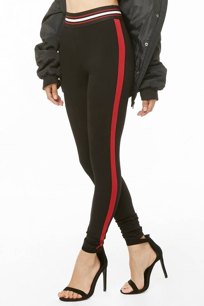 6c1c8141af0798 Striped knit leggings for an athleisure look that can be dressed up or  down. Forever 21