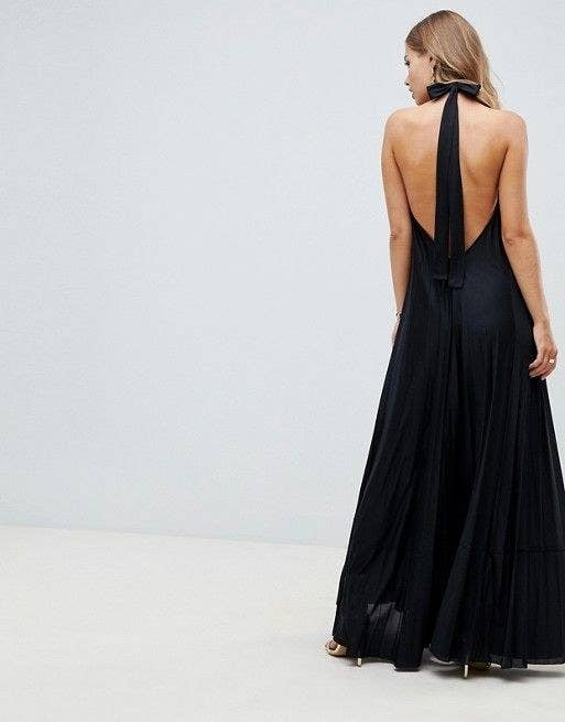 6f2841ba A pleated maxi dress with a bow-topped halter back you can dress down for a  vacation or dress up for a swanky event.