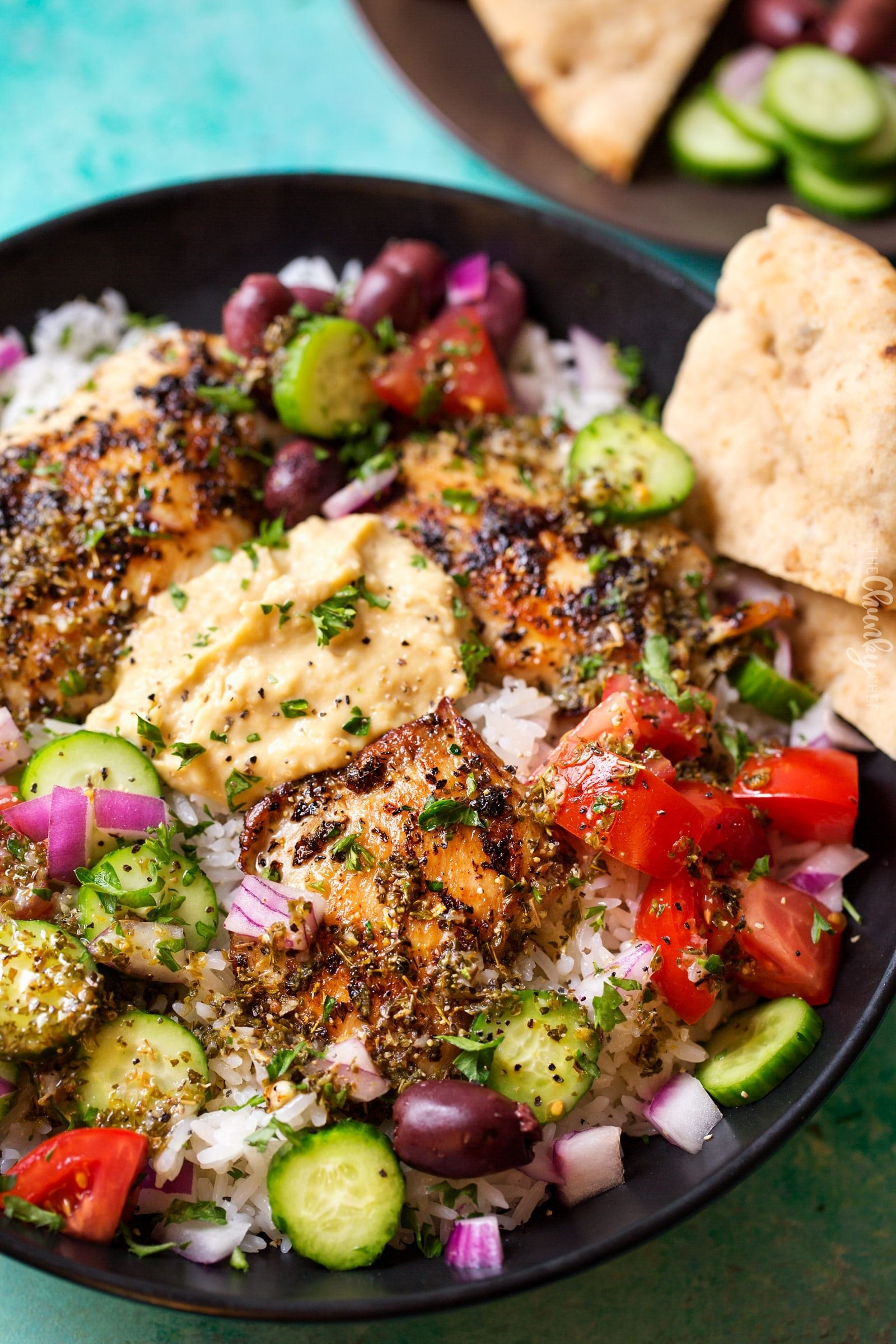 Grab a package of microwaveable rice and top it with grilled Greek chicken and some Mediterranean veggies like cucumber, tomatoes, and red onion. Get the recipe.