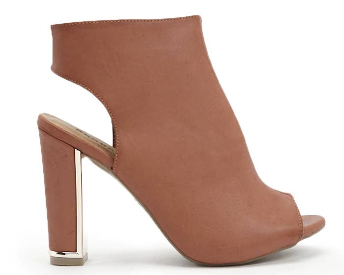 13e79a5206ddd Faux-leather peep-toe booties with an ankle cutout and metallic trim