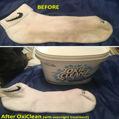 Dirty white sock completely clean after overnight treatment