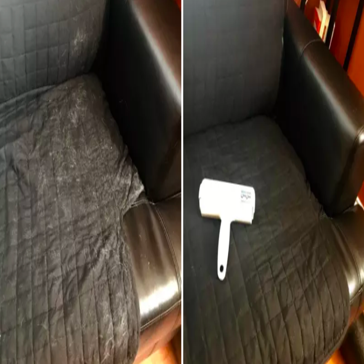 Black sofa cover covered in white fur, wiped clean after using brush
