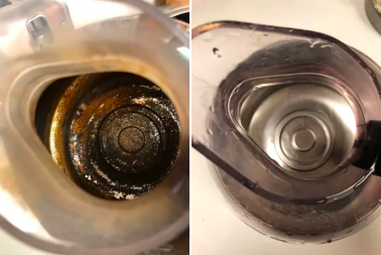 The inside of a rusty and dirty kettle totally clean after using product