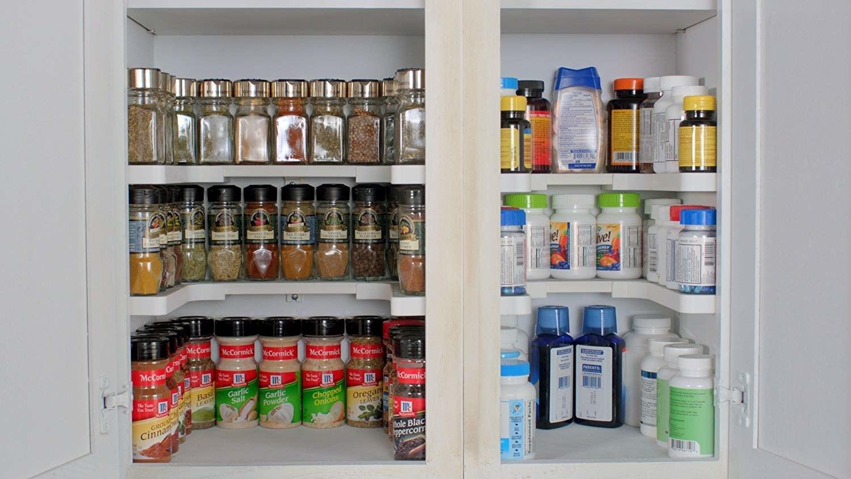 u-shaped shelf with spices