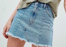 A denim mini skirt