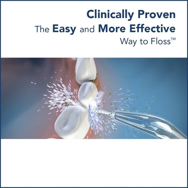 "A rendering of the jet of water cleaning between teeth with text ""clinically proven easy and more effective way to floss"""