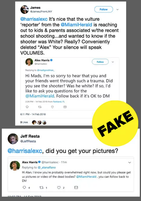 Trolls targeted Miami Herald reporter Alex Harris with doctored tweets during the Parkland school shooting. -  Twitter initially said this wasn't against their policies but later  said it would revise that policy after an inquiry from BuzzFeed News.