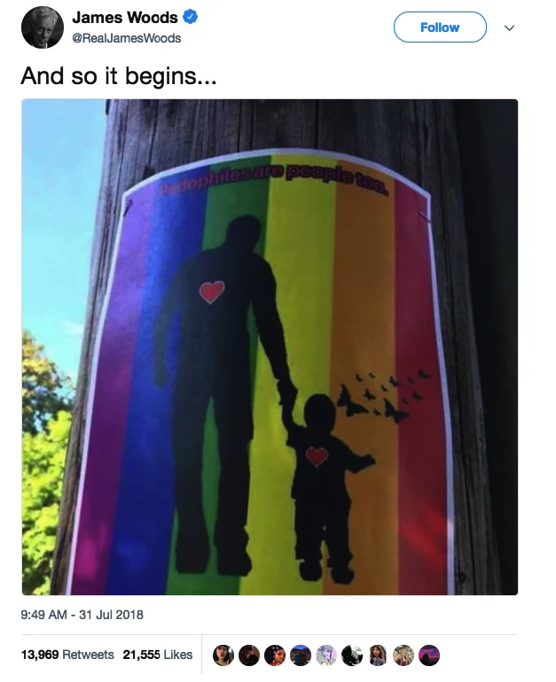 Far-right trolls tried to falsely claim  that LGBT activists want pedophilia accepted as a sexuality. -  The image of the poster spread online, primarily through Facebook, and made the rounds on forums about the baseless  Pizzagate  and  QAnon  conspiracy theories.